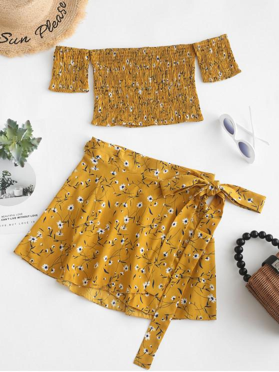 best Smocked Floral Off Shoulder Top And Skirt Set - BEE YELLOW M