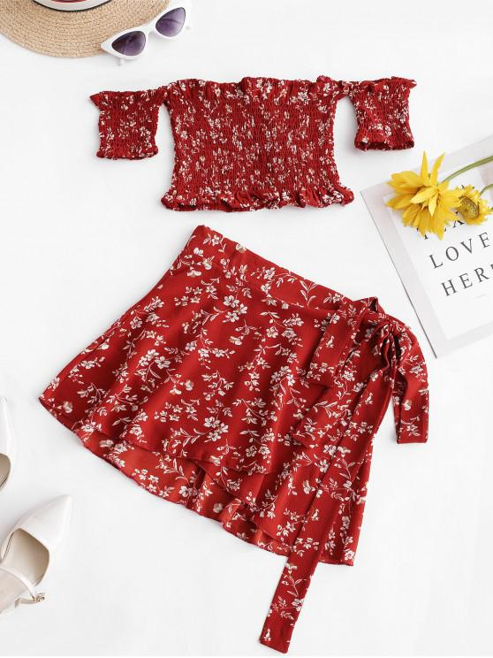 buy Smocked Floral Off Shoulder Top And Skirt Set - RED L