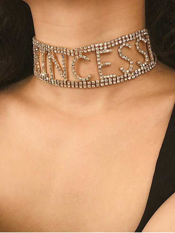 best Rhinestone Letter Princess Choker Necklace - GOLD
