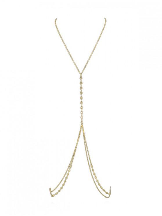 lady Sexy Hollow Geometric Body Chain - GOLD