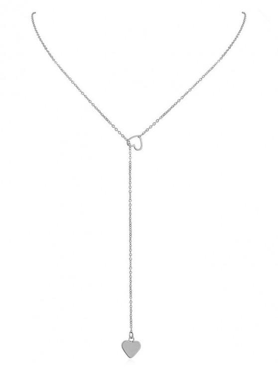 shops Heart Shape Hollow Lariat Necklace - SILVER