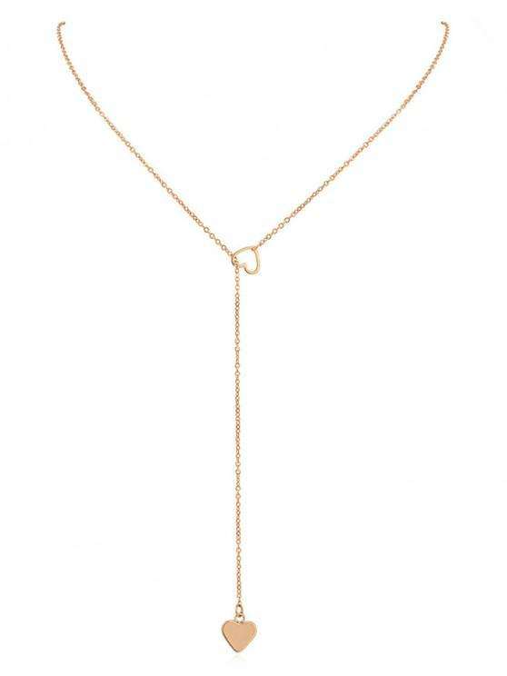 latest Heart Shape Hollow Lariat Necklace - GOLD