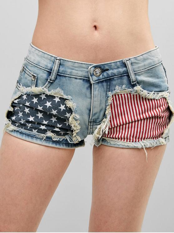 women American Flag Frayed Denim Shorts - MULTI-A L