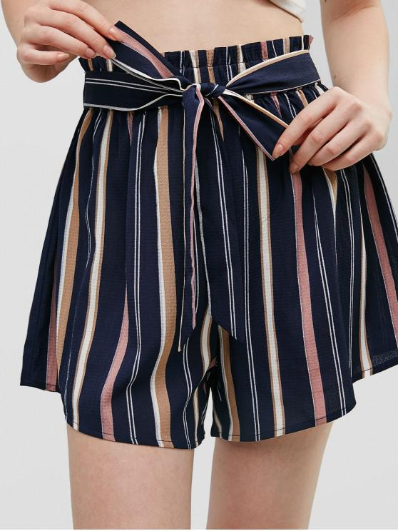 lady ZAFUL Knotted Stripes High Waisted Shorts - MIDNIGHT BLUE S