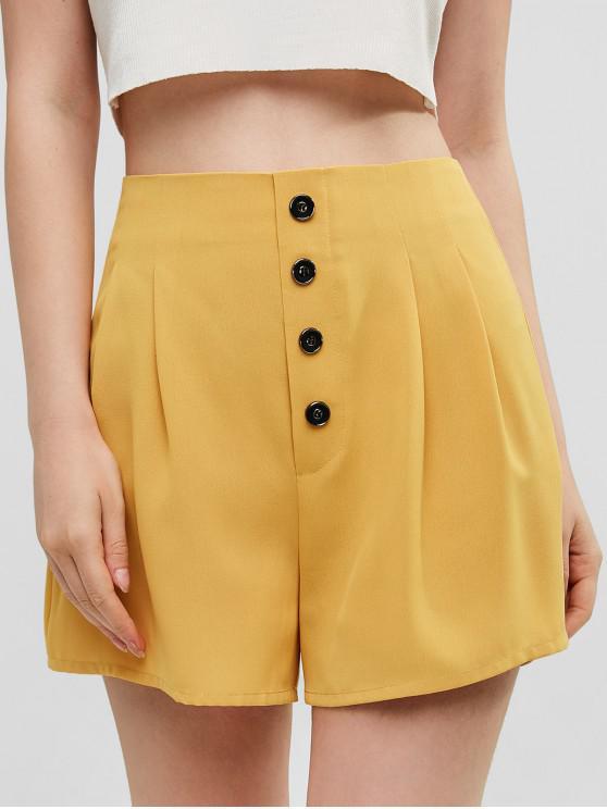 shop ZAFUL Side Zipper Buttoned High Waisted Shorts - BEE YELLOW S
