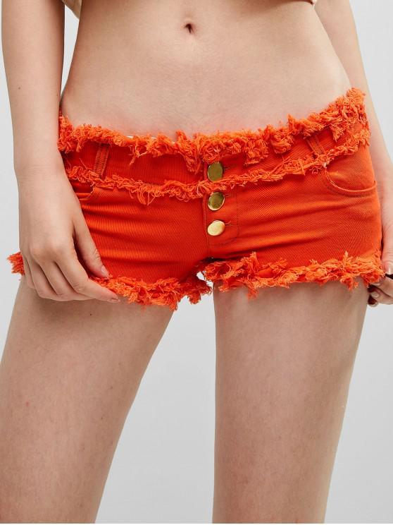 trendy Button Fly Frayed Denim Shorts - PUMPKIN ORANGE M