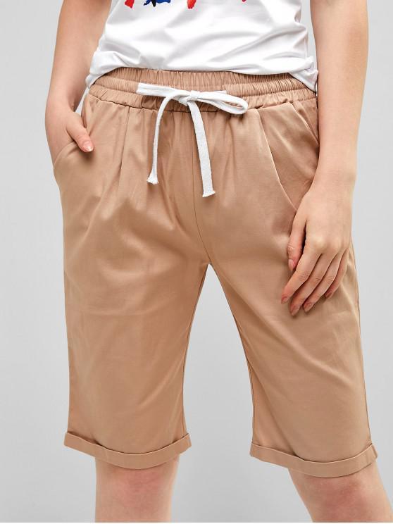 online Drawstring Waist Cuffed Pirate Shorts - LIGHT KHAKI M