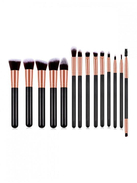 womens 14Pcs Shadow Powder Makeup Tool Brushes - GOLD