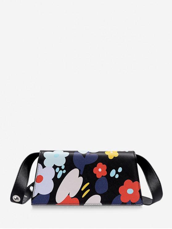 women's Floral Color Block Crossbody Bag - BLACK