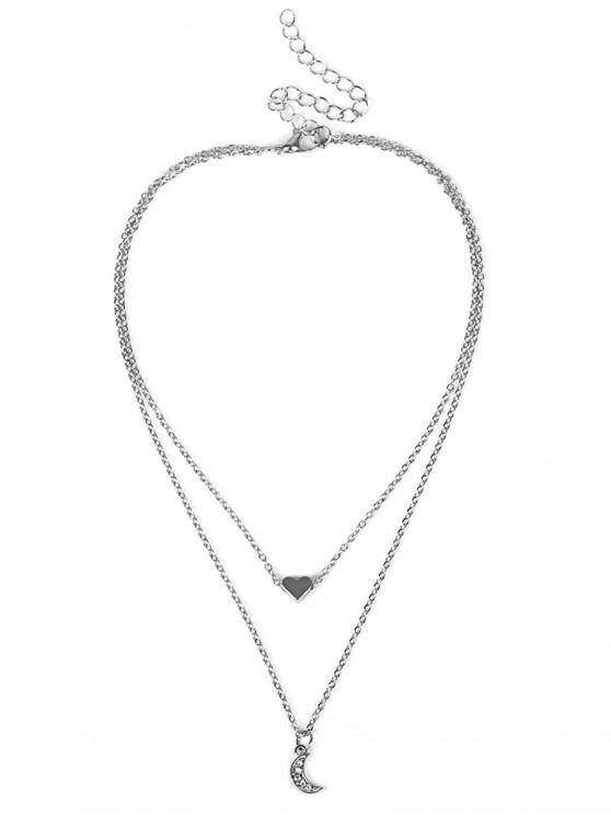 best Heart Moon Rhinestone Layered Necklace - SILVER