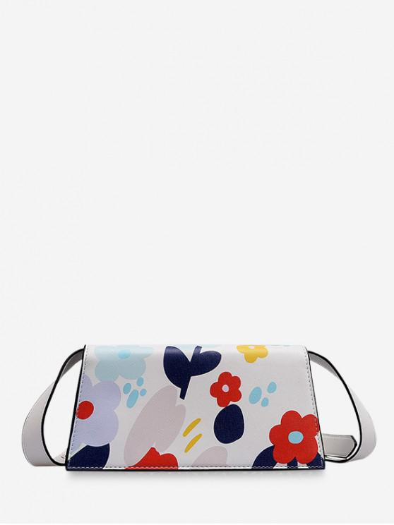trendy Floral Color Block Crossbody Bag - WHITE