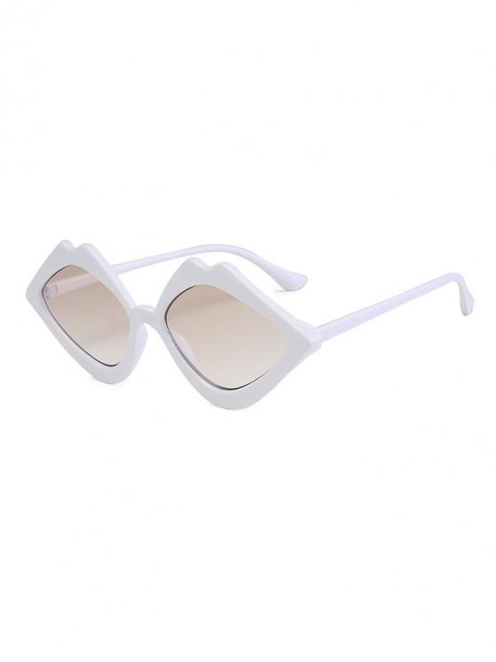 outfit Rhombus Lip Shape Sunglasses - WHITE