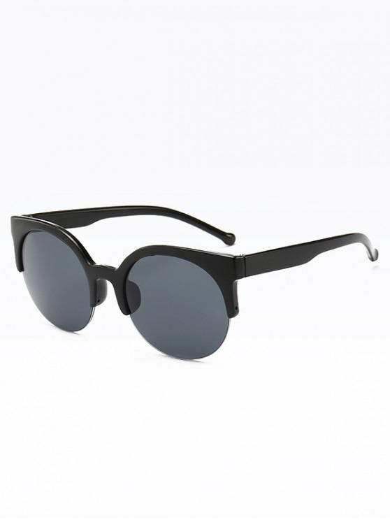 buy Round Outdoor Semi-rimless Sunglasses - BLACK