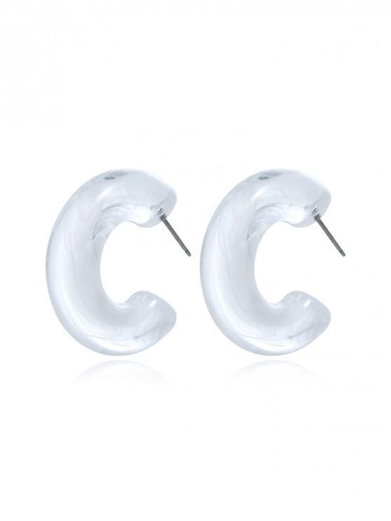 women Acrylic Cuff Stud Earrings - WHITE