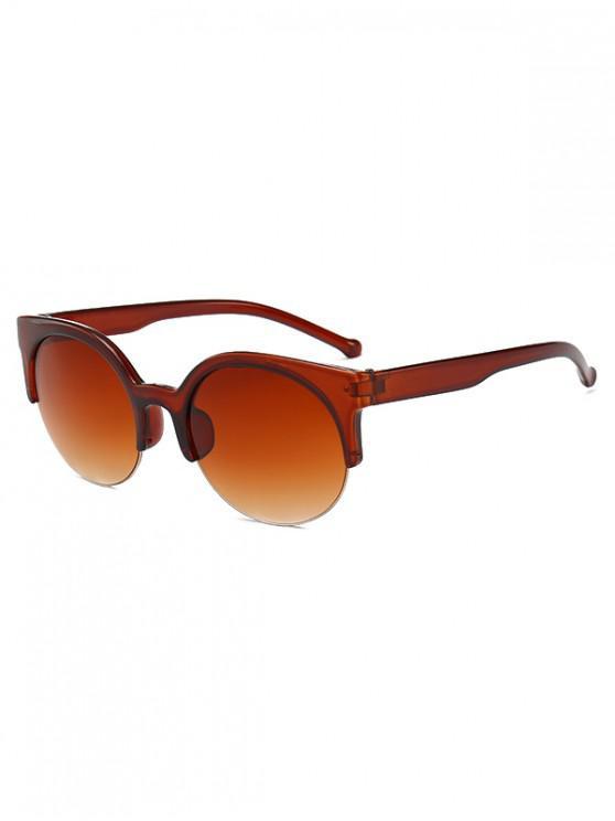 lady Round Outdoor Semi-rimless Sunglasses - LIGHT BROWN
