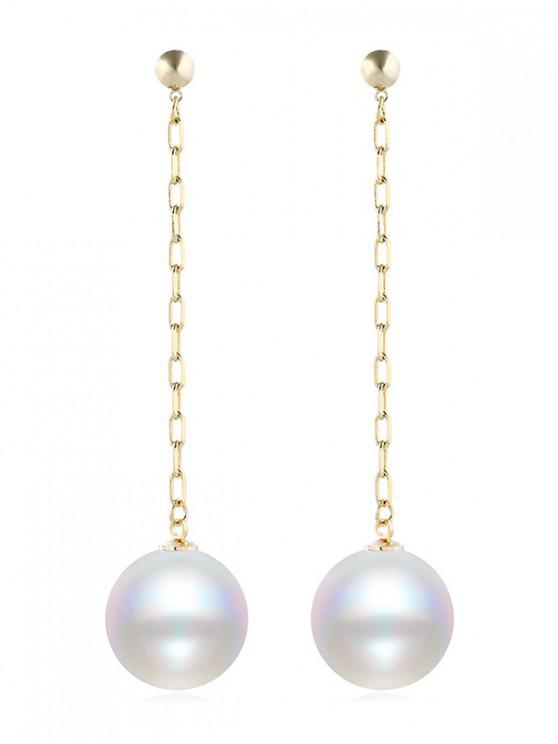 new Faux Pearl Chain Dangle Earrings - WHITE