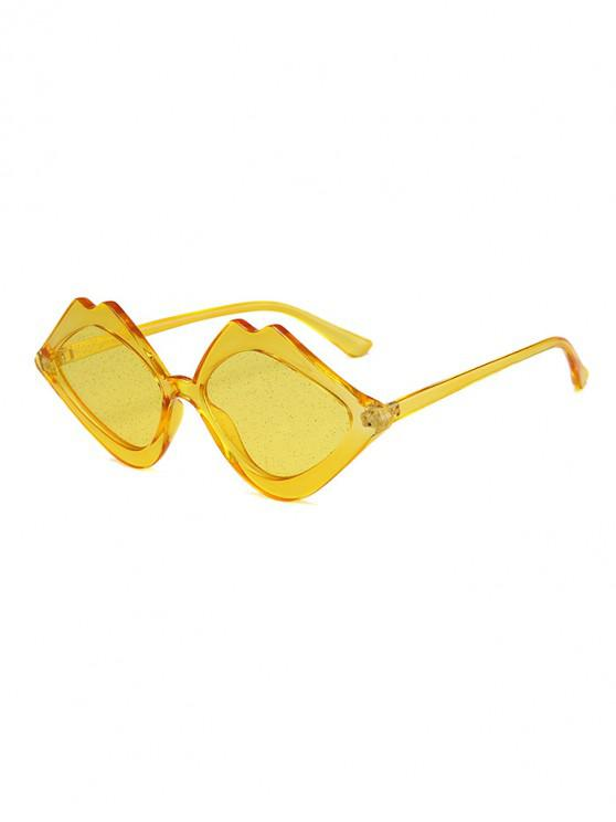 hot Rhombus Lip Shape Sunglasses - BEE YELLOW