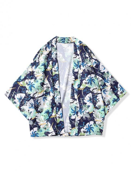 chic Beach Holiday Scenery Print Kimono Cardigan - MIDNIGHT BLUE M