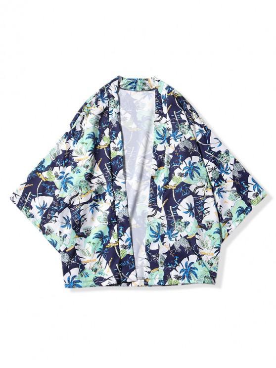 Strandurlaub- Landschaftdruck- Kimono- Strickjacke - Mitternacht Blau L