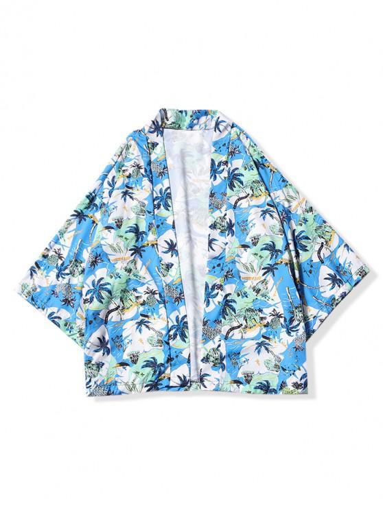 women Beach Holiday Scenery Print Kimono Cardigan - LIGHT SKY BLUE 2XL
