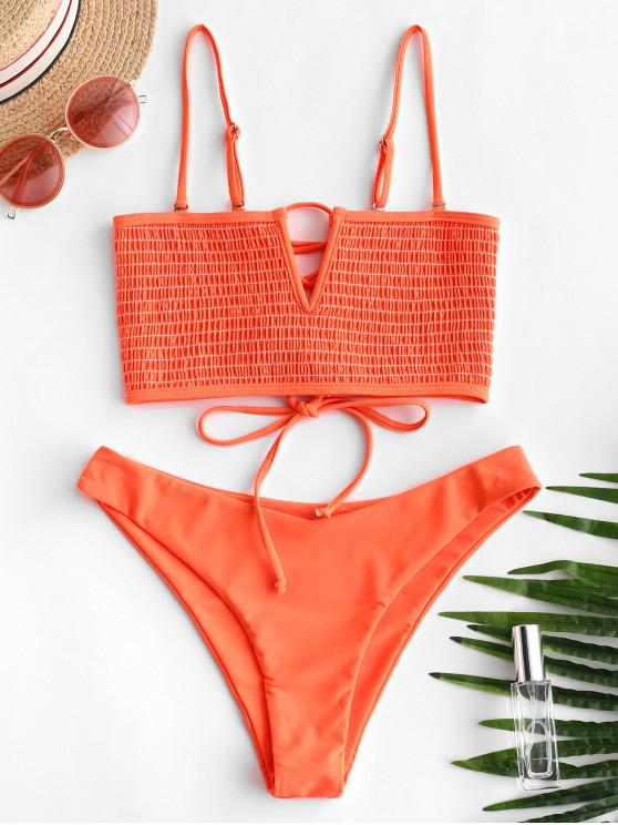 women's ZAFUL V-wired Neon Smocked Bikini Set - ORANGE M