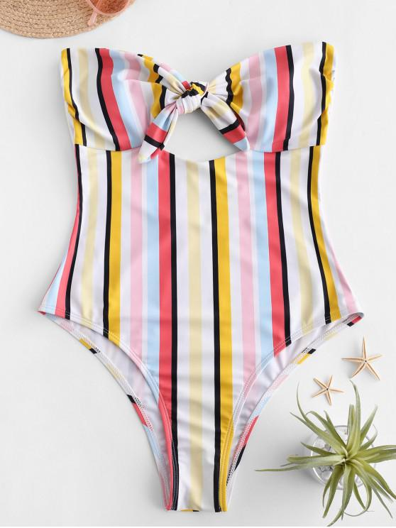 affordable ZAFUL Multi Striped Strapless One-piece Swimsuit - MULTI-A S