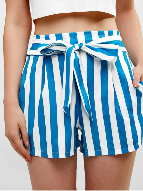 outfits Elastic Waist Striped Knotted Shorts - CELESTE M