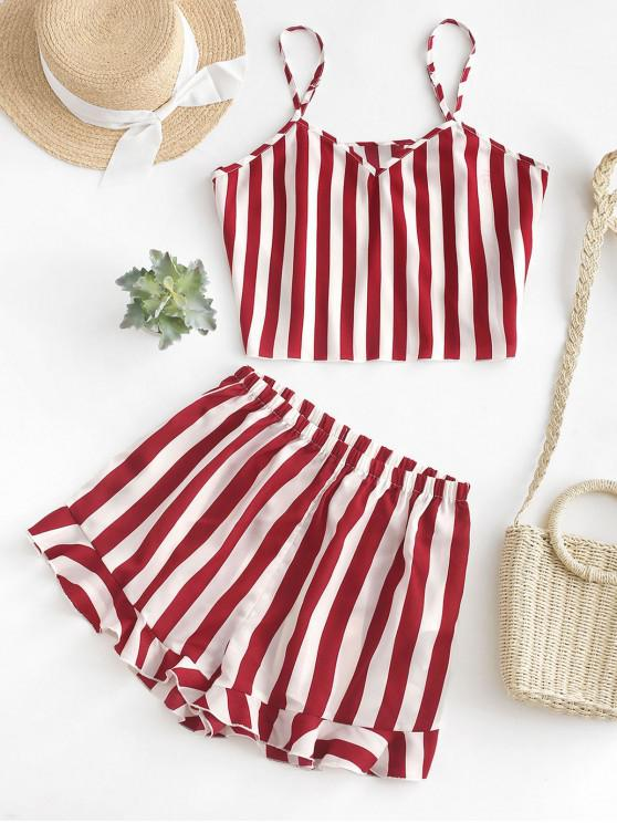 ladies ZAFUL Striped Cami Top and Flounce Shorts Set - CHERRY RED M