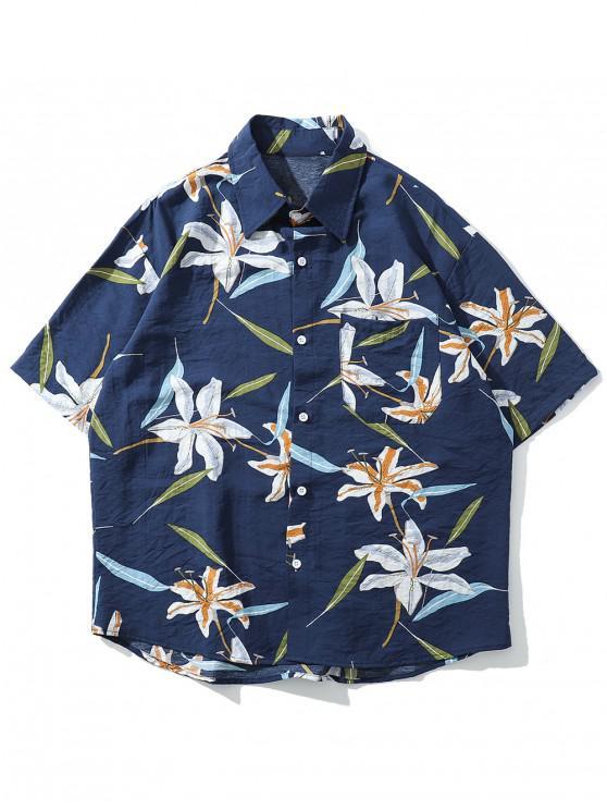Blumenblattdruck-Strand-Knopf-Shirt - Dunkel Blau L