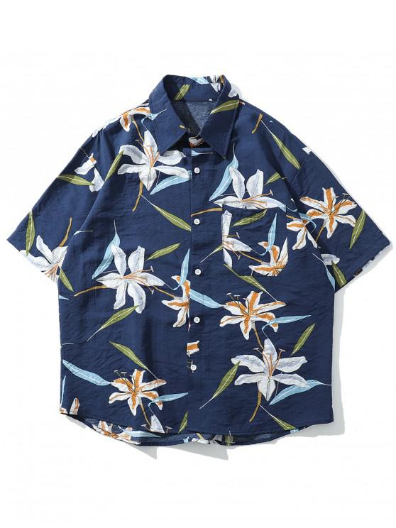 lady Floral Leaf Print Beach Button Shirt - DEEP BLUE XL