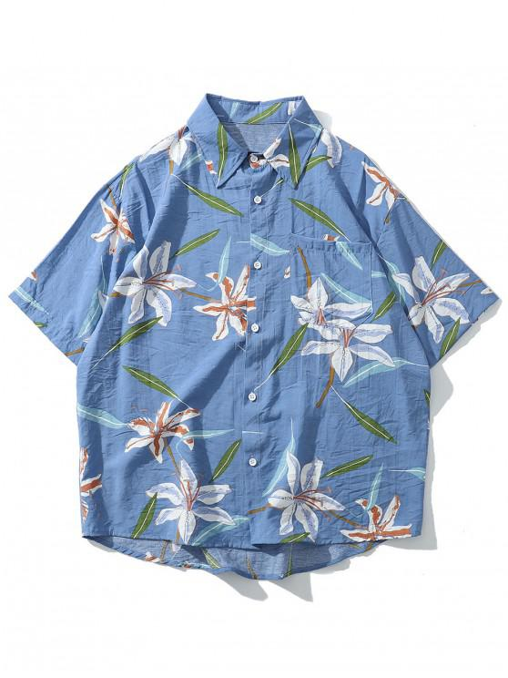 hot Floral Leaf Print Beach Button Shirt - DAY SKY BLUE XL