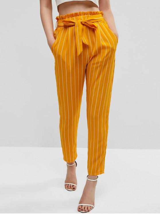 buy High Waisted Pockets Stripes Paperbag Pants - BEE YELLOW S