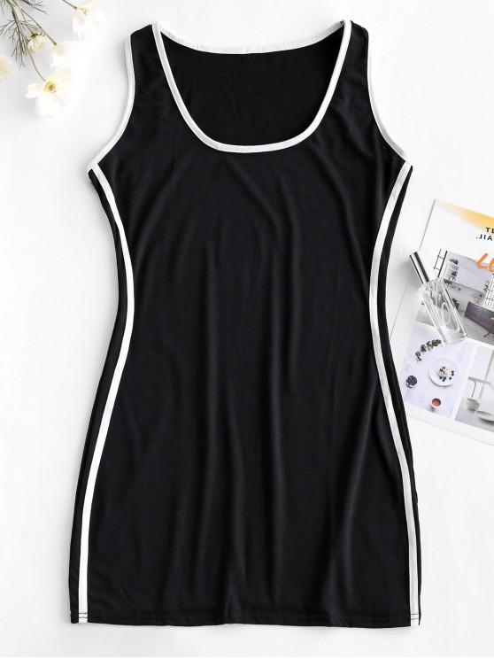 shop Stripes Panel Bodycon Tank Dress - BLACK S