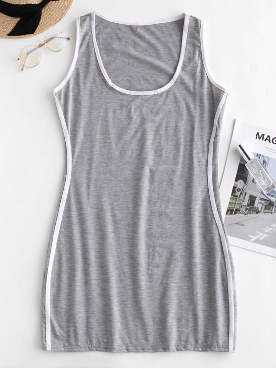 sale Stripes Panel Bodycon Tank Dress - GRAY M