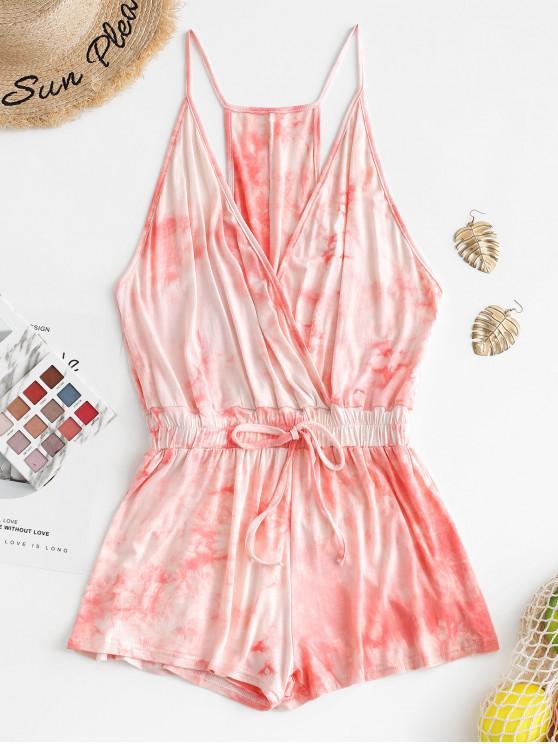 outfit Tie Dye Surplice Cami Romper - SAKURA PINK M