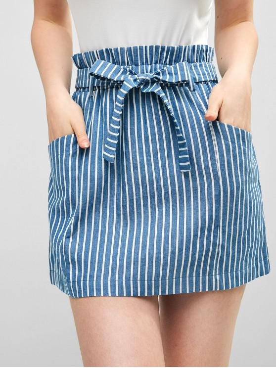 unique ZAFUL Striped Pockets Belted Paperbag Skirt - DENIM BLUE M