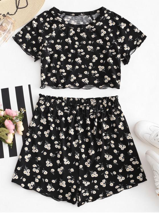 shops ZAFUL Cropped Floral Top And Shorts Set - BLACK M