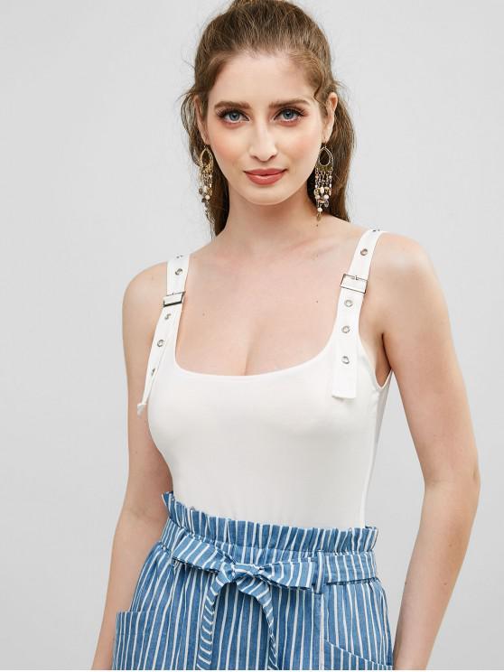 chic U Neck Buckle Strap Bodysuit - WHITE M