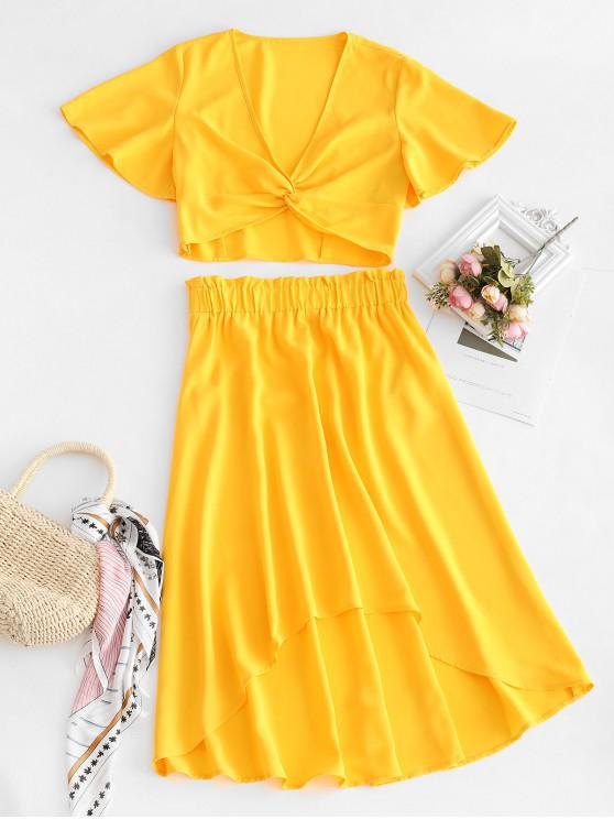 fancy ZAFUL Twist Top And High Low Skirt Set - YELLOW L
