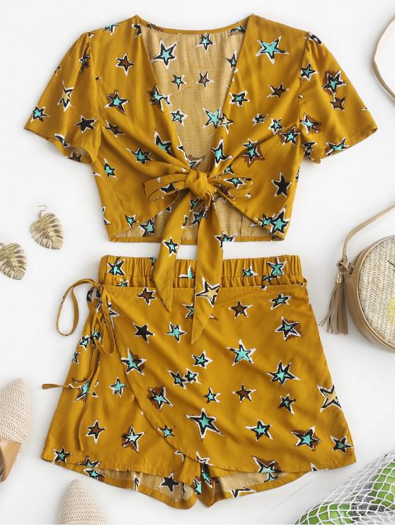 sale ZAFUL Star Print Knot Top and Shorts Set - BEE YELLOW M