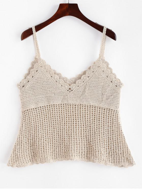 latest Crochet Scalloped Cover Up Top - WARM WHITE ONE SIZE