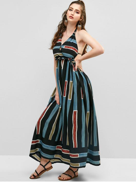 4665eb72693e 34% OFF] 2019 Halter Stripes Open Back Maxi Dress In BLACK   ZAFUL