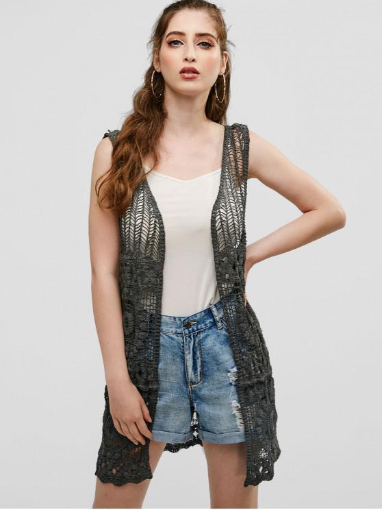 25 Off 2019 Open Crochet Knit Tunic Sleeveless Cardigan In Gray