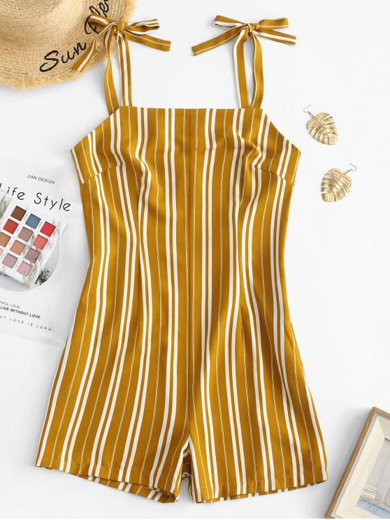 lady ZAFUL Tied Straps Stripes Sleeveless Romper - BEE YELLOW M