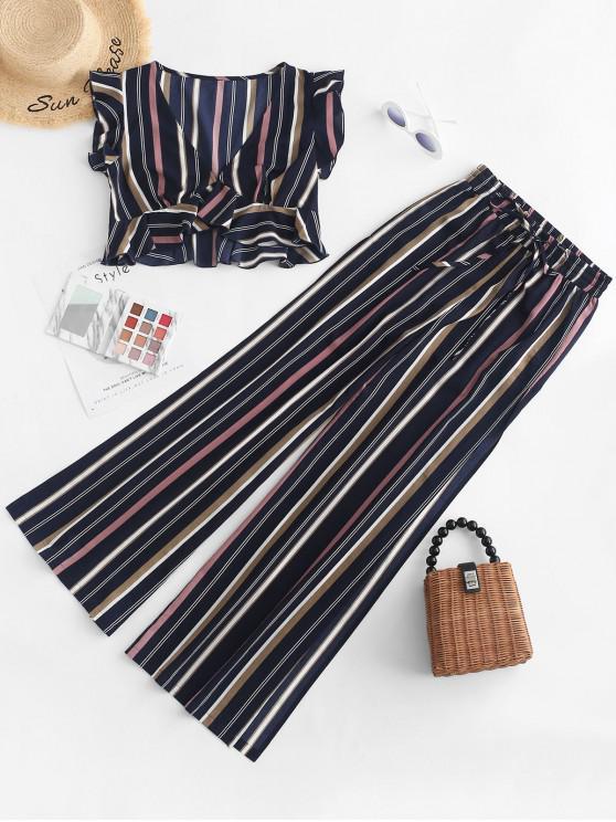 lady ZAFUL Ruffled Striped Top and Slit Pants Set - MIDNIGHT BLUE L