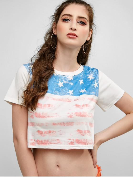 women's Distressed American Flag Crop Tee - MULTI-A L