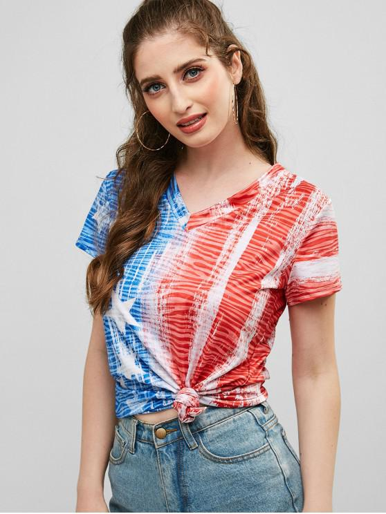 sale V Neck American Flag Print Tee - MULTI-A XL