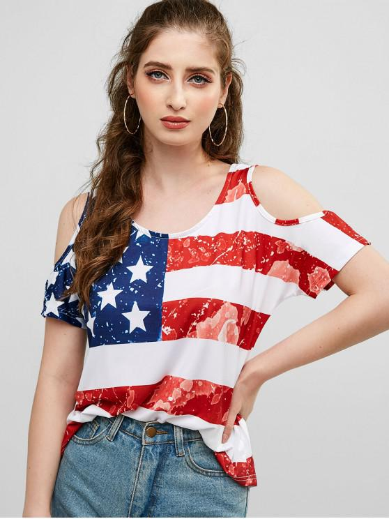 fashion Cold Shoulder American Flag Print Tee - MULTI-A XL