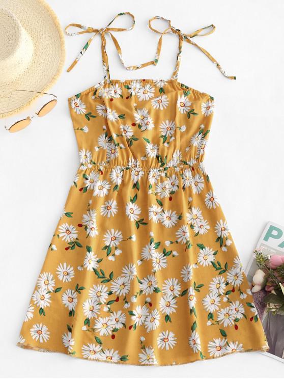 lady ZAFUL Tie Daisy Print Sundress - BRIGHT YELLOW M