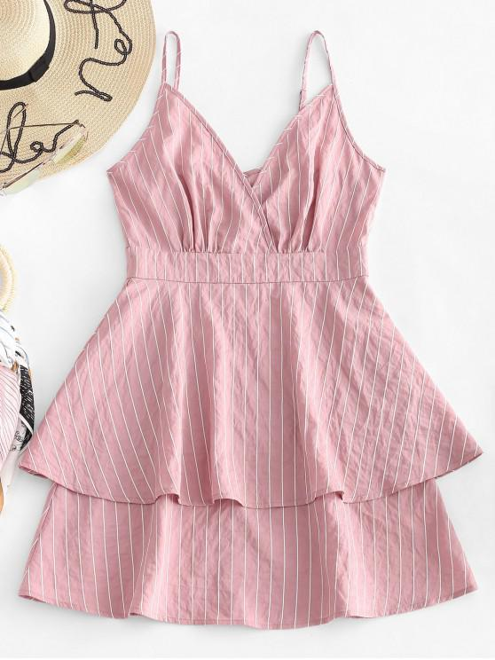 fashion ZAFUL Pinstriped Layered Sundress - LIPSTICK PINK S